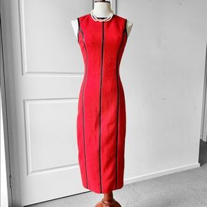 MICHAEL KORS Leather Trimmed Wool Mid-length Dress